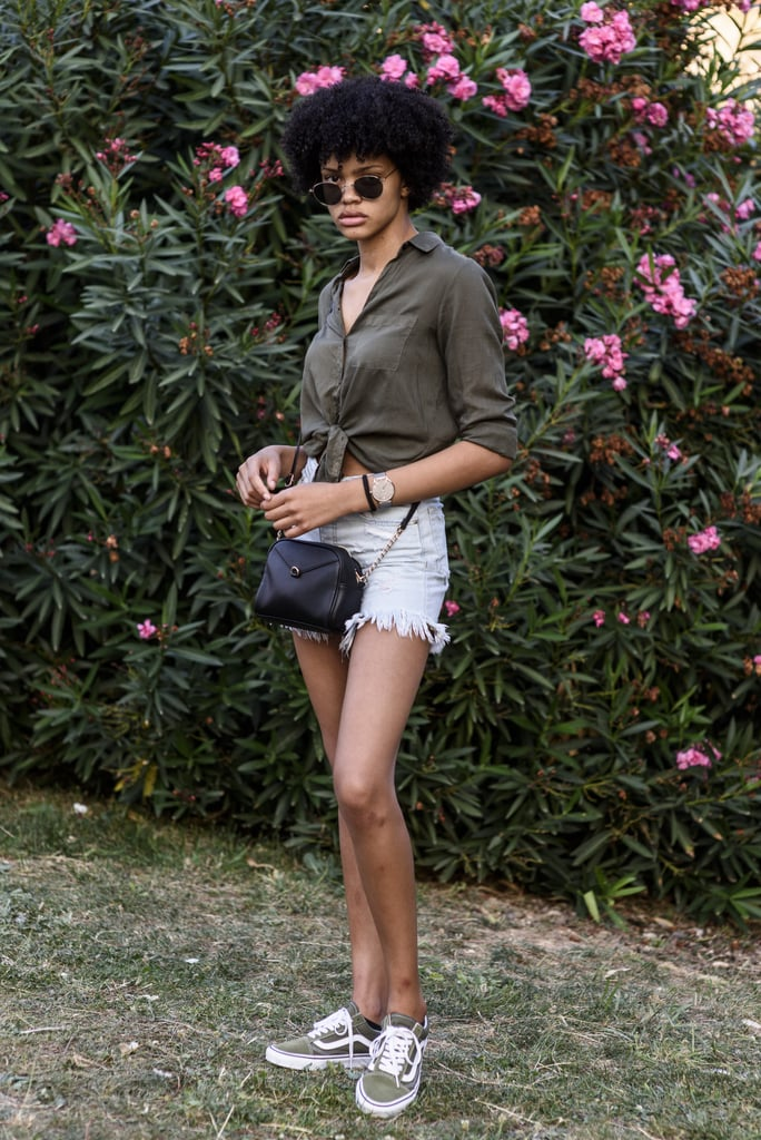 With a Tied-Up Shirt and Cutoff Denim Shorts