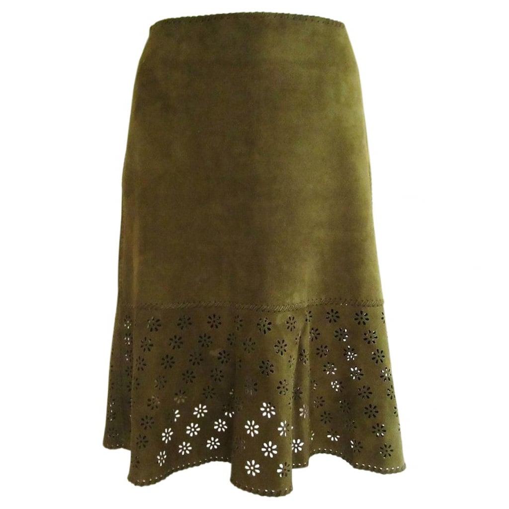 Céline Vintage Green Suede Skirt ($273)