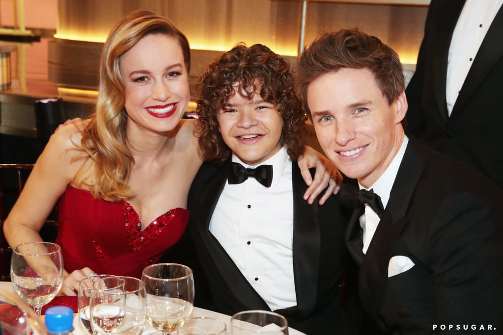 Brie Larson and Eddie Redmayne looked happy to share a snap with Stranger Things star Gaten Matarazzo.