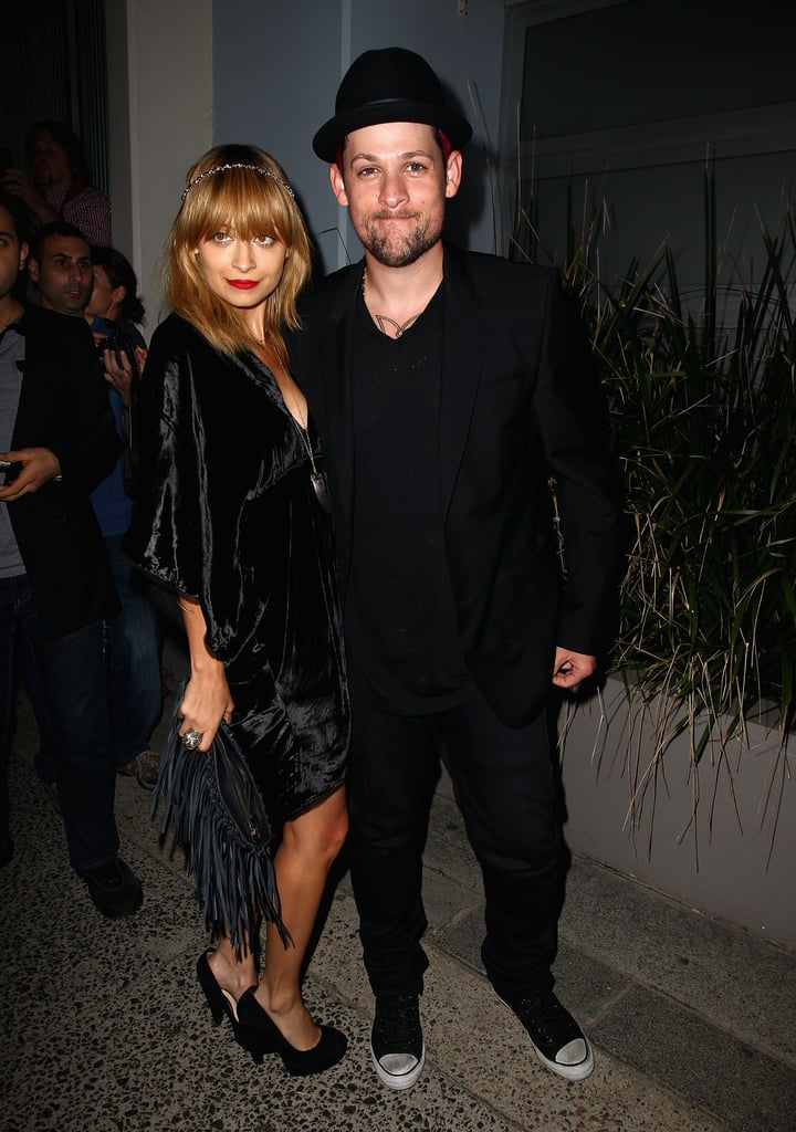 Nicole Richie and Joel Madden both wore black to attend a party for The Voice Australia in Sydney in May 2012.