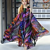 This Multicolor Cape Dress Made Quite the Statement