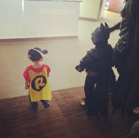 Batkid was joined by his little brother, who was dressed as Robin. Source: Instagram user jrfabito
