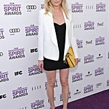 Kirsten chose tailored basics, including a white Dolce & Gabbana blazer and contrasting black minidress, for the 2012 Independent Spirit Awards. The best part, though? Her supercute black-and-white floral wedges and slick yellow clutch.
