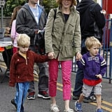 Julie Bowen and her family spent their Easter at a farmers market in Studio City, California.
