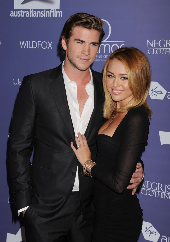 In June 2012, Miley Cyrus showed off her engagement ring with fiancé Liam Hemsworth at the Australians in Film Breakthrough Awards in LA.