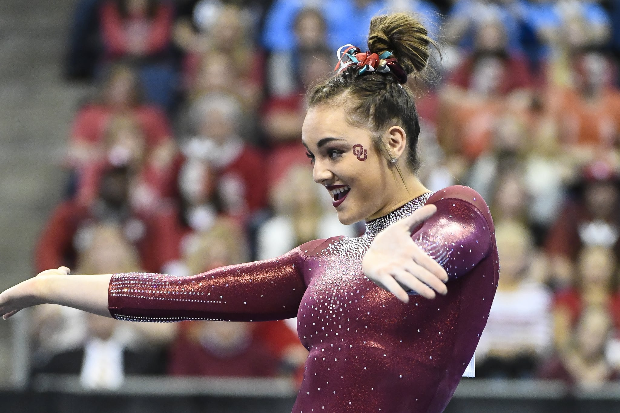 ST LOUIS, MO - APRIL 21: Maggie Nichols #511 of the University of Oklahoma performs a floor routine during the Division I Women's Gymnastics Championship held at Chaifetz Arena on April 21, 2018 in St Louis, Missouri. UCLA won with a score of 197.5625 points. (Photo by Tim Nwachukwu/NCAA Photos via Getty Images)
