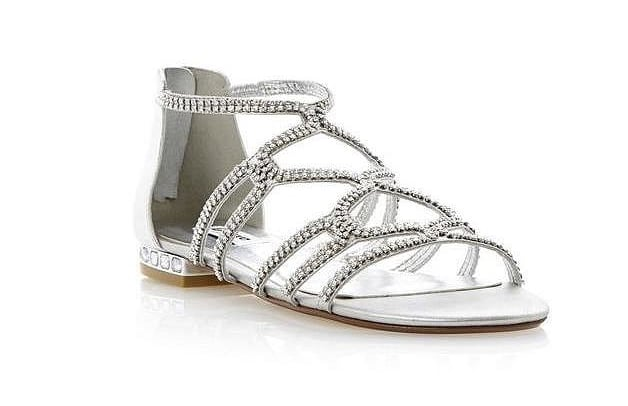 f08a143d44c9 Dune Silver Caged Diamante Flat Sandals