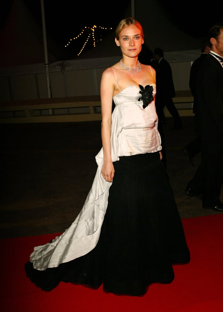 She chose a dramatic black-and-white gown for the 2004 De-Lovely party in Cannes.