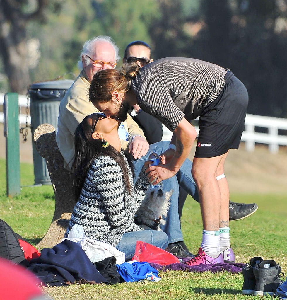 Zoe Saldana and Marco Perego Kissing at a Soccer Game
