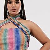Club L London Plus glitter stripe wrap detail crop top in multi