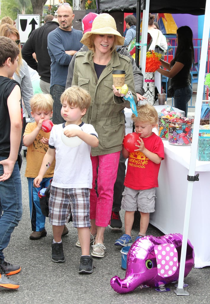 Julie Bowen rounded up her sons, Oliver, Gustav, and John, for a trip to an LA farmers market on Sunday.