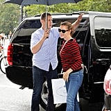 Jennifer Garner took shelter under an umbrella in NYC.