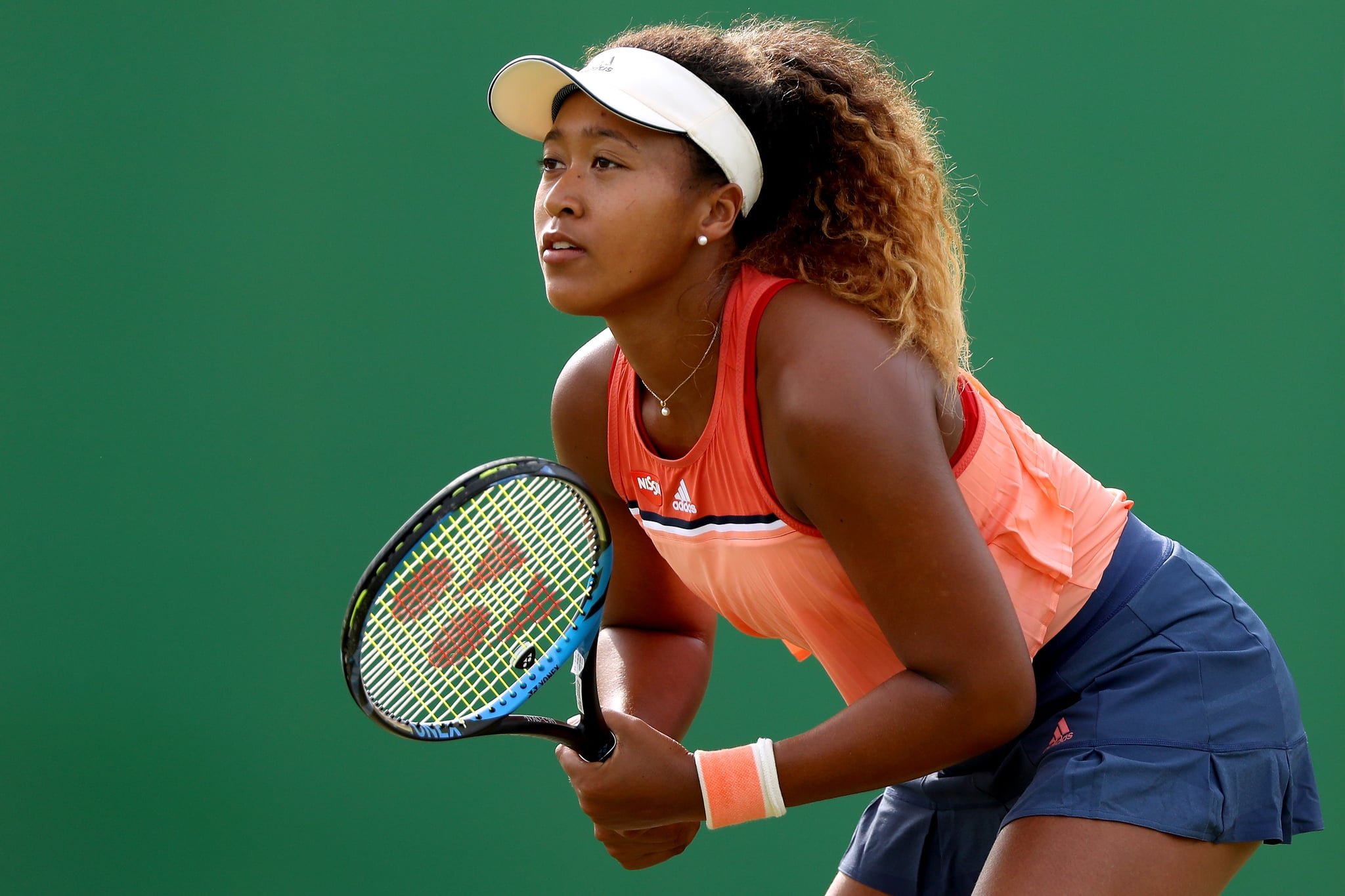 NOTTINGHAM, ENGLAND - JUNE 13:  Naomi Osaka of Japan plays Denisa Allertova of Czech Republic during Day five of the Nature Valley Open at Nottingham Tennis Centre on June 13, 2018 in Nottingham, United Kingdom.  (Photo by Matthew Stockman/Getty Images)
