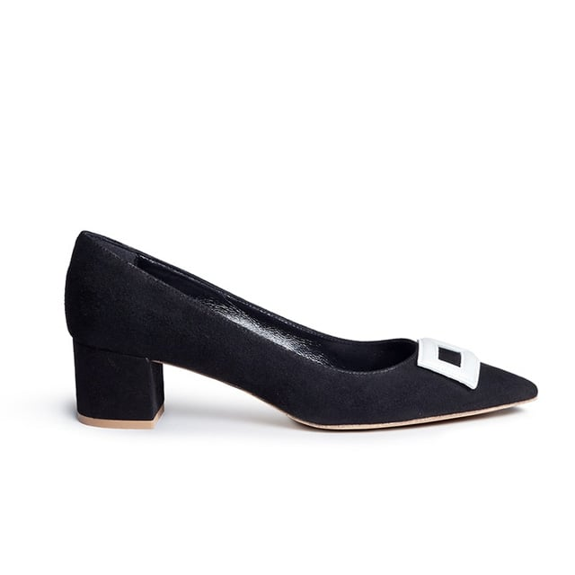 Fabio Rusconi Leather Buckle Appliqué Suede Pumps ($255)