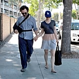 Rachel McAdams and Michael Sheen walked hand in hand.