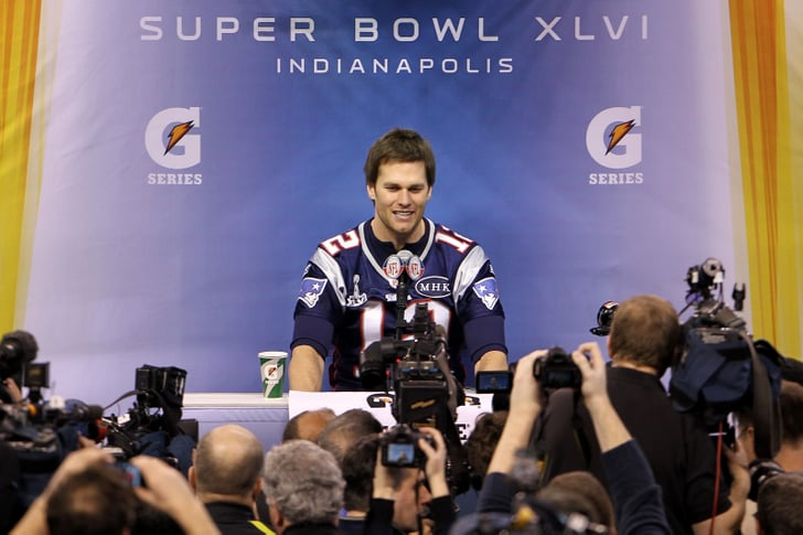 Tom Brady at a Super Bowl press conference.