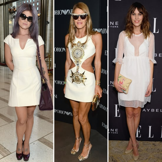 Alexa Chung in White Dress at New York Fashion Week