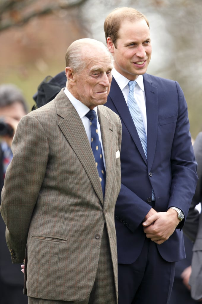 Philip looked to be stifling a laugh as he and William attended a statue unveiling in March 2014.