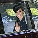 Kate Middleton Wears Navy Coat For Church