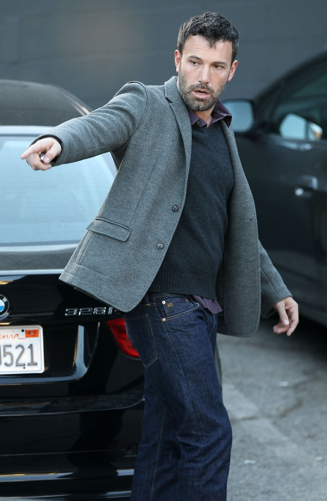 Ben Affleck wore a grey coat out in LA.