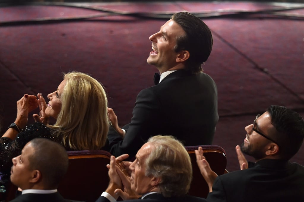 Bradley Cooper Watching Lady Gaga Perform at the 2015 Oscars