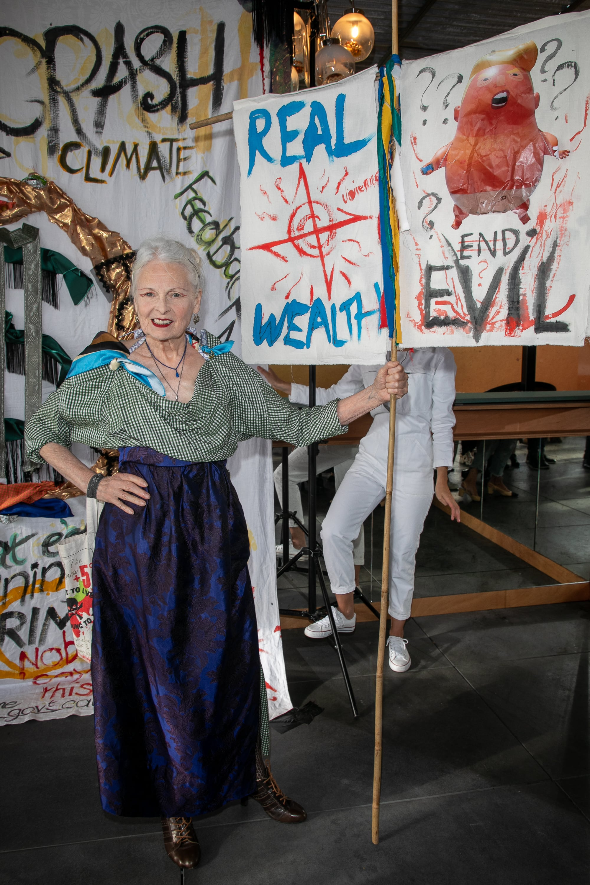 PARIS, FRANCE - SEPTEMBER 04: Vivienne Westwood launches 'Changeons de Mode'  showcases at Galeries Lafayette Haussmann on September 04, 2019 in Paris, France. (Photo by Marc Piasecki/Getty Images)