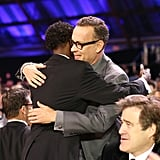 Tom Hanks hugged Barkhad Abdi.