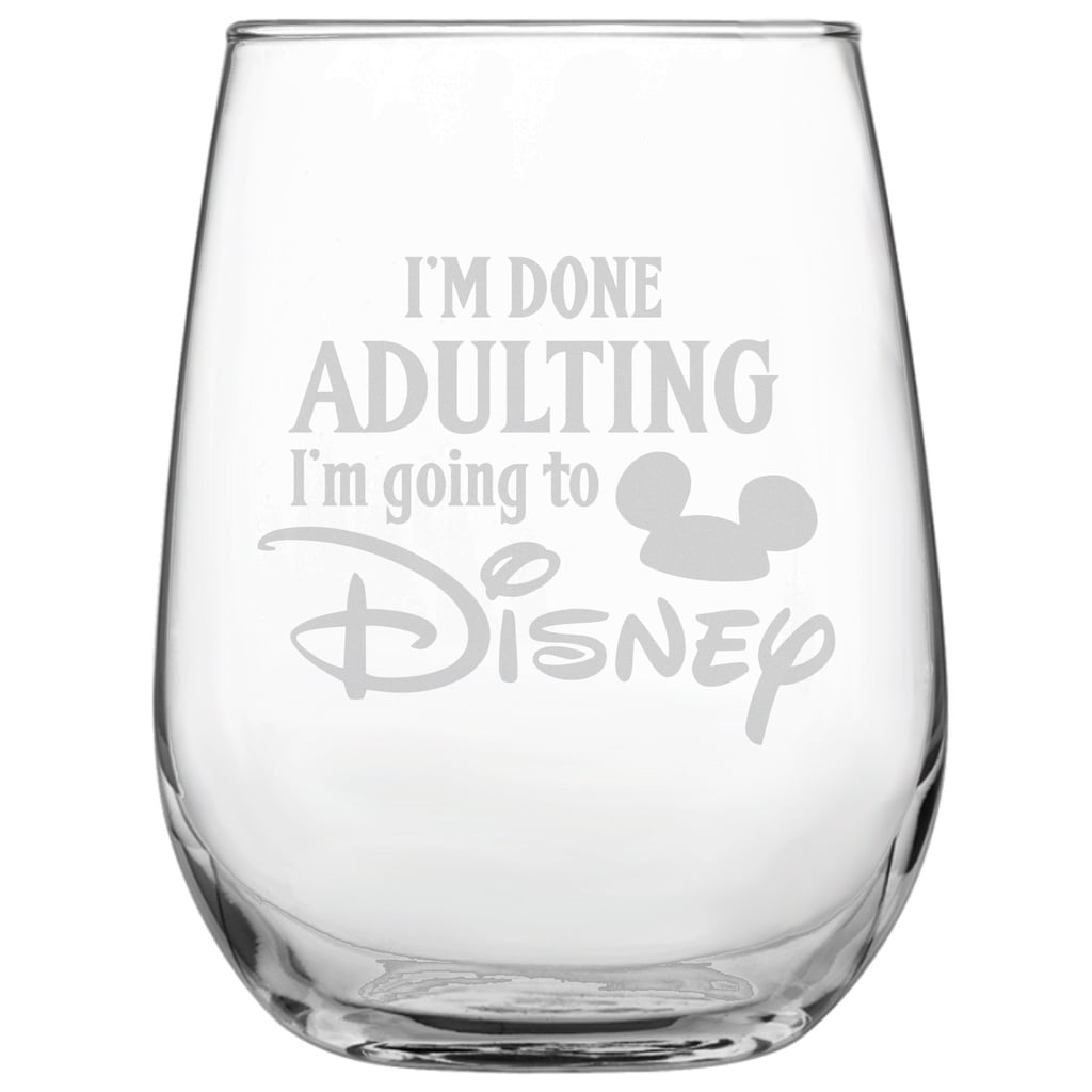 Engraved Disney-Inspired Stemless Wine Glass