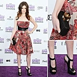 Anna Kendrick chose McQ by Alexander McQueen for her Spirit Awards appearance. We love that this edgier choice was also accented by a leather bustier cinch. She accessorized with a black clutch and sky-high black heels.