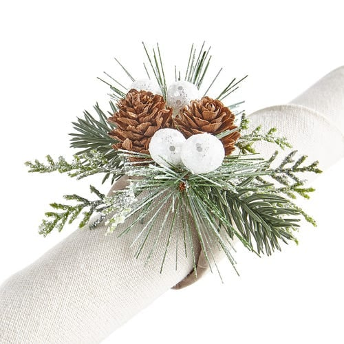 Pine & White Berries Napkin Ring