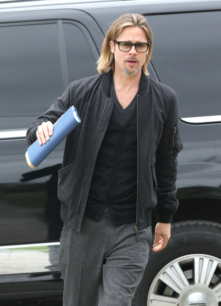 Brad Pitt checked on the housing progress in person.
