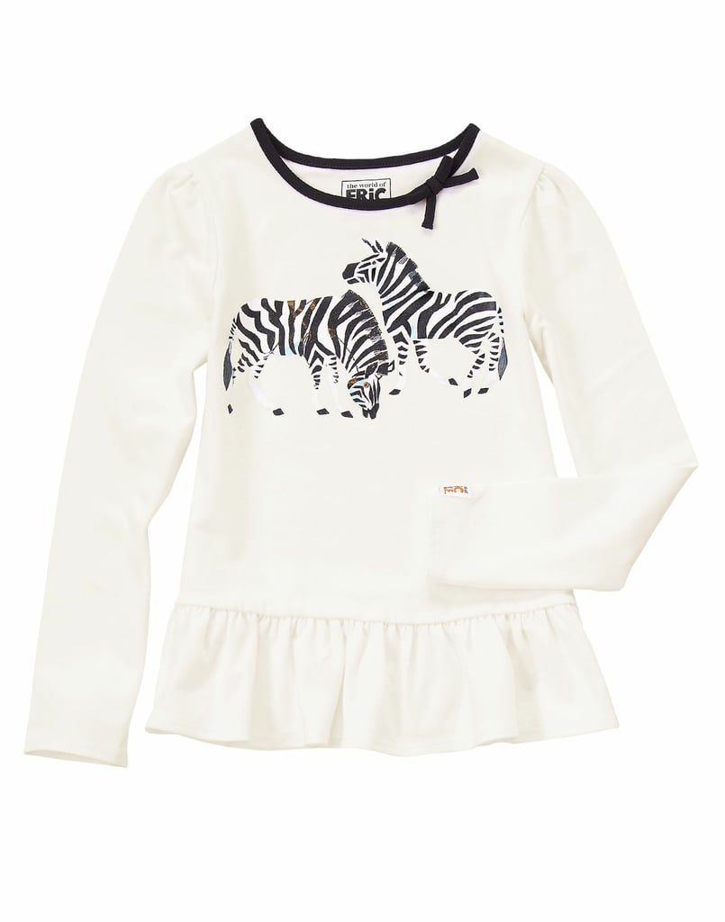It doesn't matter if they're white with black stripes or black with white stripes — your daughter will look darling in this zebra play shirt ($22).