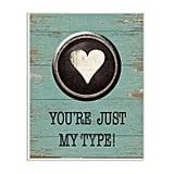Typeset Heart Wall Plaque