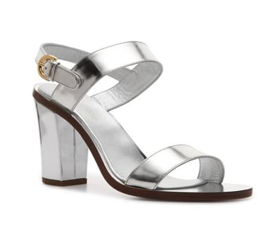 A simple silhouette done up in silver feels not so simple anymore. Try these with a fitted skirt and blouse for your 9-to-5.  Sergio Rossi Metallic Sandal ($300)