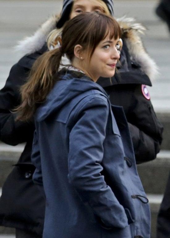 Johnson threw her hair into a no-nonsense Ana ponytail.