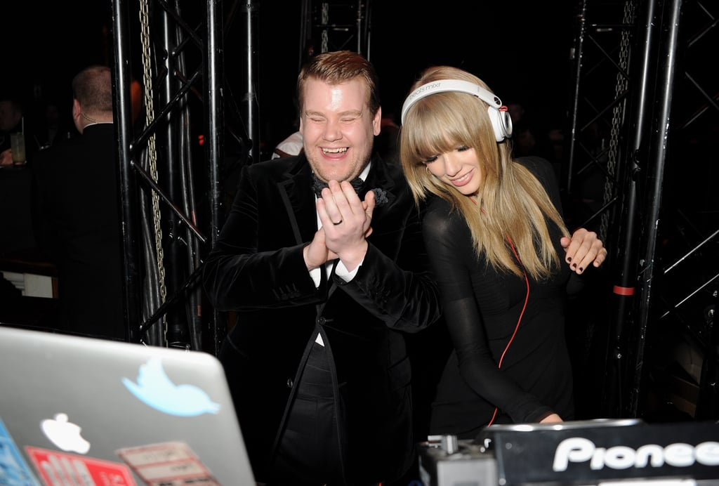 Taylor Swift took over the DJ booth with James Corden during a Brit Awards after party.