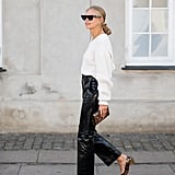 Autumn Outfit Idea: Leather Trousers + Leopard Heels