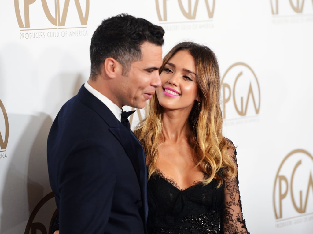 Jessica Alba posed with Cash Warren at the Producers Guild Awards.