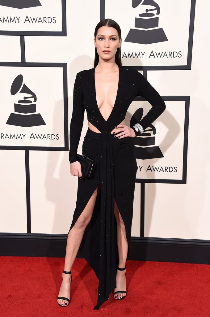 Bella Hadid Long Sleeve Sexy Cutout Black Evening Dress Grammys 2016 Red Carpet
