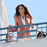 Eva Longoria stood on the rooftop of a hotel for a photo shoot at the Cannes Film Festival.