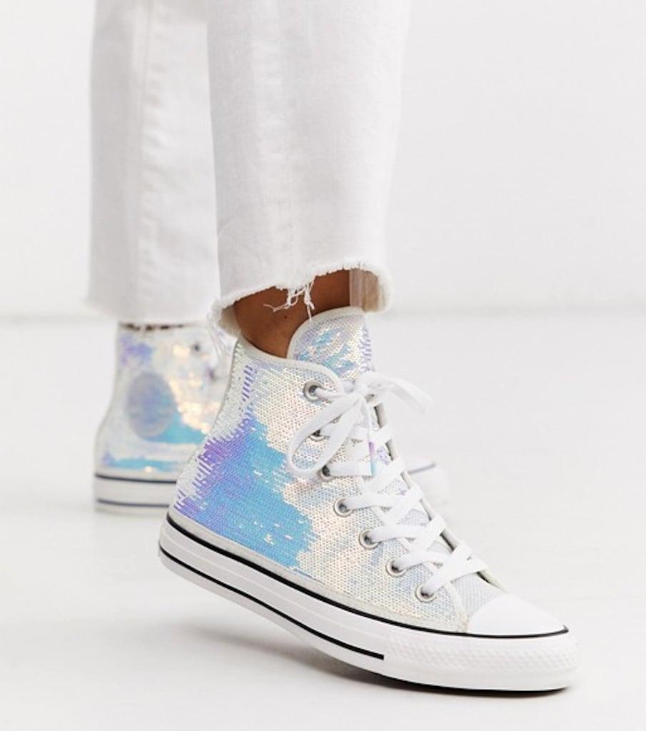 Converse Iridescent Sequin High Top Sneakers 2020 | POPSUGAR