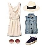 One of our favorite sunny-day Spring looks is a girlie dress topped with a slightly edgy denim vest. By adding a Panama hat, comfy sneakers, and round-frame sunglasses, you're basically ready for music festival season. Get the look:  Mint by Goorin Straw Panama Hat ($36) Topshop Sleeveless Denim Jacket ($76) Superga for The Row Low-Top Sneaker ($190) Mango Round Sunglasses ($25) QSW The Austin Dream Dress ($108)
