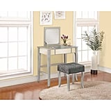 Linon Harper Vanity Set Including Mirror and Stool