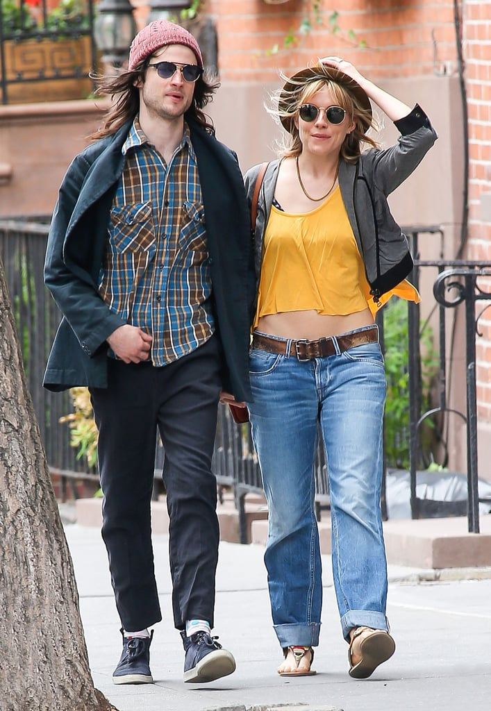 Sienna Miller and Tom Sturridge went for a stroll in NYC yesterday as they prepared for a big Sunday at the Tony Awards. Tom is nominated for best actor in a play for his work in Orphans, which ran on Broadway earlier this year. He is up against a list of Hollywood heavy hitters for the prize, including Tom Hanks, Nathan Lane, and David Hyde Pierce.  Sienna has been busy herself this week promoting her newest film, Just Like a Woman, which she premiered in the Big Apple on Wednesday. We caught up with Sienna at the screening, where she revealed her Father's Day plans for Tom Sturridge, which will include a handmade cup from their daughter, Marlowe. Keep an eye out for Tom and Sienna at the Tony Awards this Sunday, and don't forget to check out all the celebrities who have won Tonys.