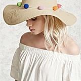 Forever 21 Pom-Pom Straw Hat