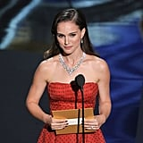 Natalie Portman presented the best actor award onstage at the 2012 Oscars.