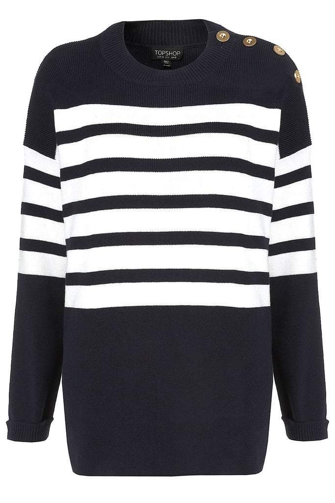 This is Parisian preppy-chic personified in one clean, striped Topshop sweater ($72) — pair it with equestrian riding boots, skinny jeans, and a neutral-toned trench coat.