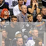 David Beckham took his sons, Romeo, Cruz, and Brooklyn, to the LA Kings Stanley Cup final game in LA.
