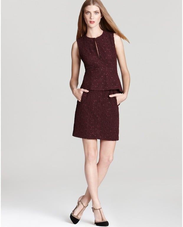 Oxblood + peplum = the perfect Fall look. This short silhouette bares just the right amount of skin.  Diane von Furstenberg Delian Pebble-Lace Dress ($445)