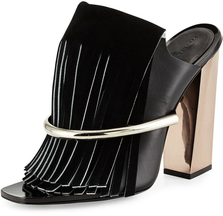Proenza Schouler Leather Fringe Banded Mules ($1,095)
